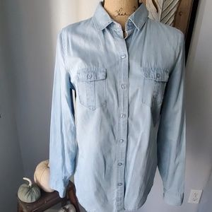Limited chambray denim button down shirt